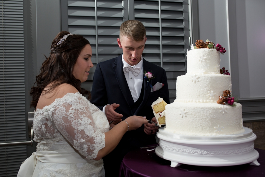 cake cutting photo of bride and groom