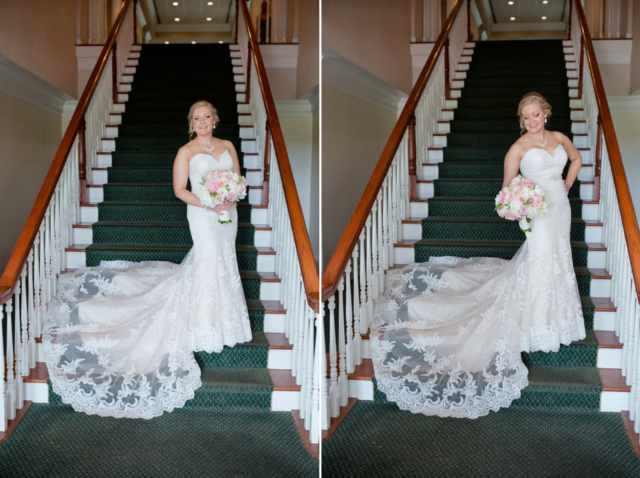 bride on staircase at wedgewood country club