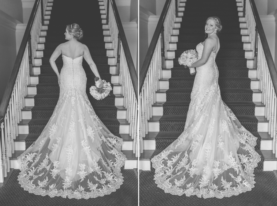 black and white photo of bride on staircase at wedgewood