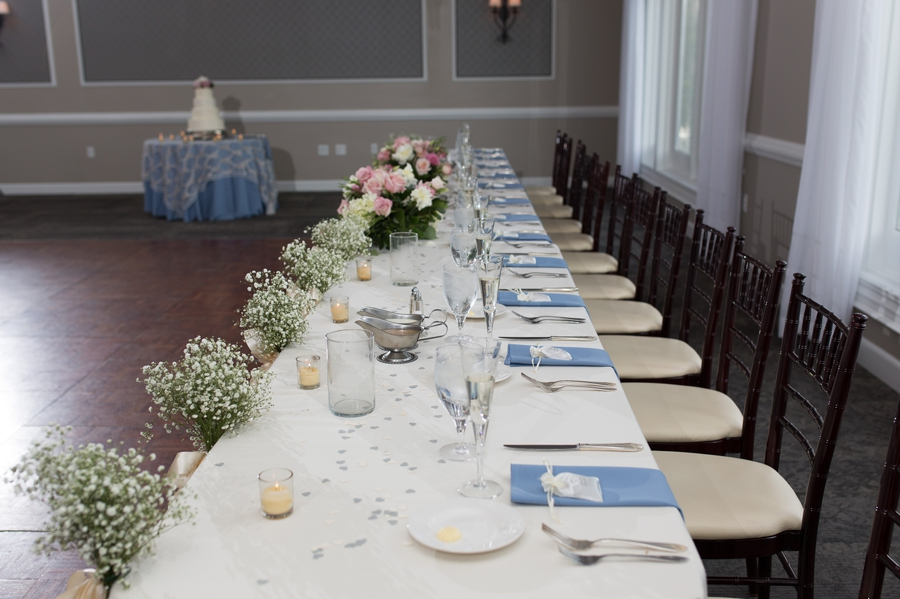 head table details at wedgewood golf and country club
