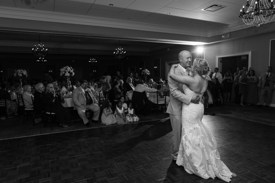 black and white photo of first dance at wedgewood golf and country club