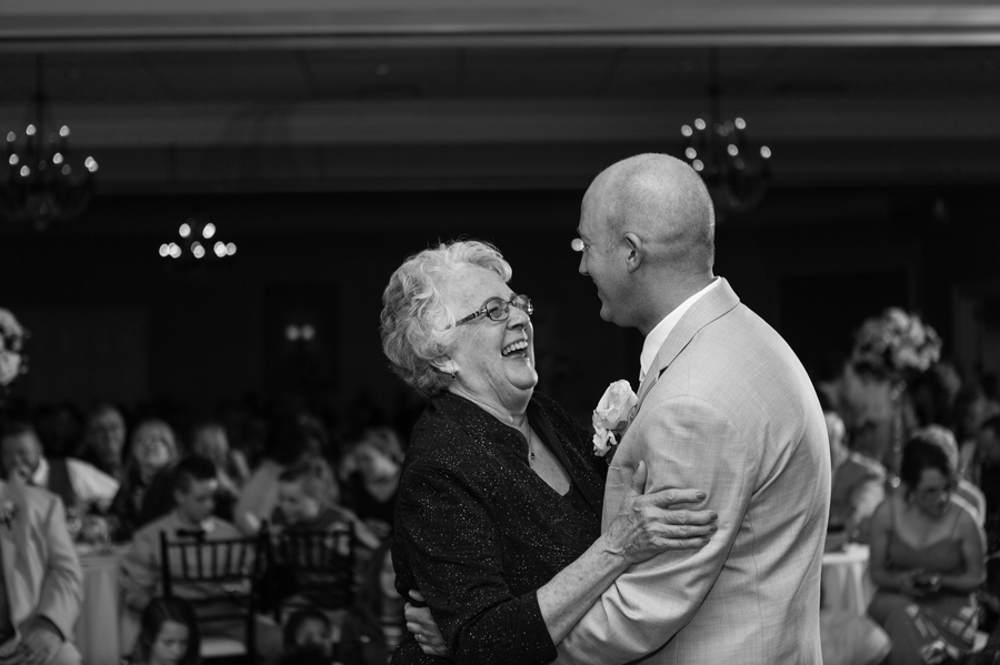 black and white photo of mother son dance at wedgewood country club wedding