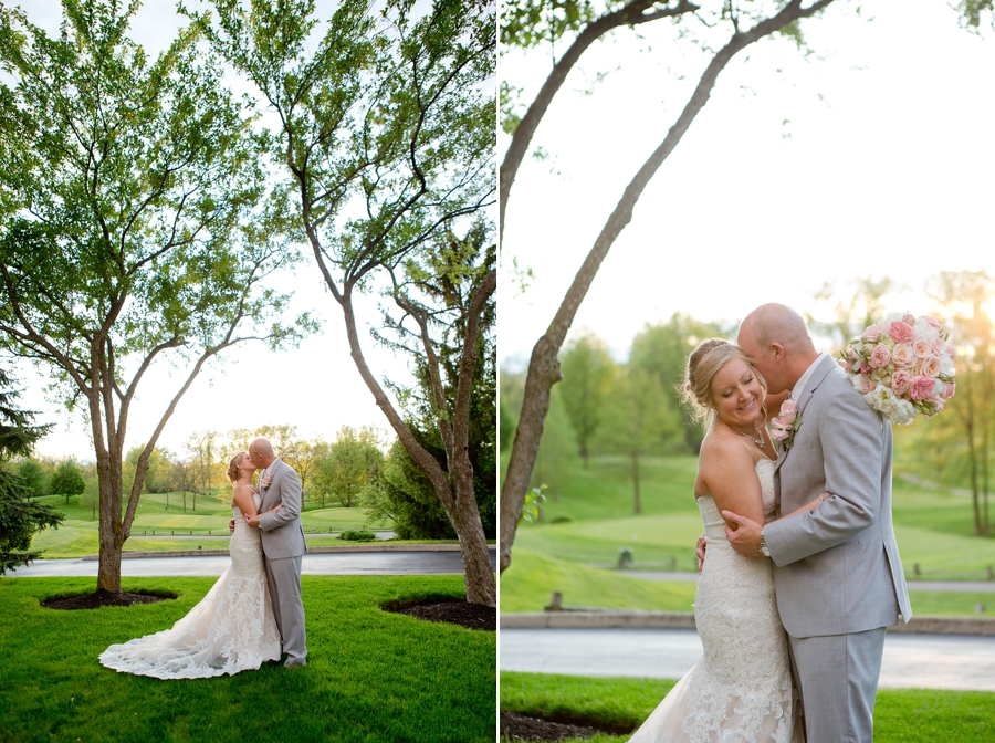 sunset photos of bride and groom at wedgewood golf and country club