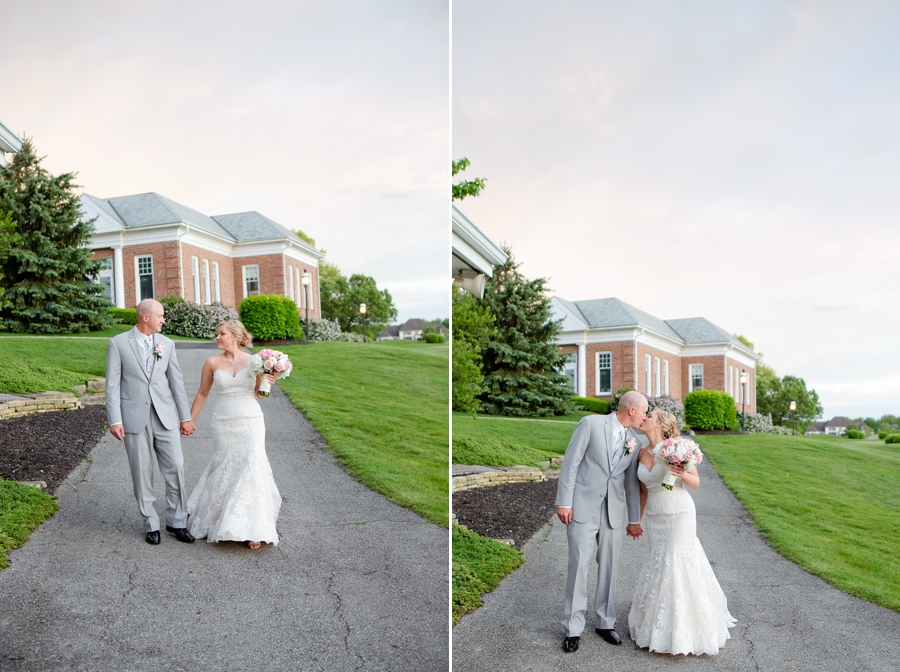 bride and groom walking holding hands at wedgewood country club