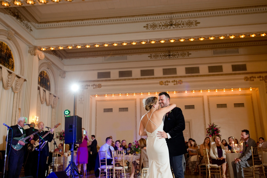 wide photo of bride and groom during first dance