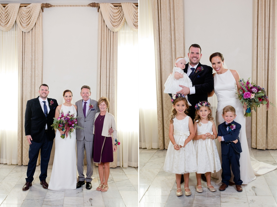bride and groom with ring bearer and flowergirls at the westin great southern columbus