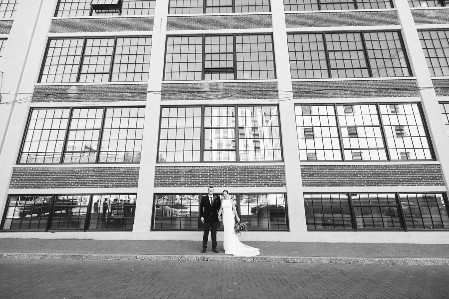 wide black and white photo of bride and groom at the westin