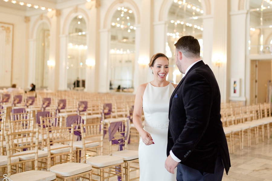 bride seeing groom for first time during first look