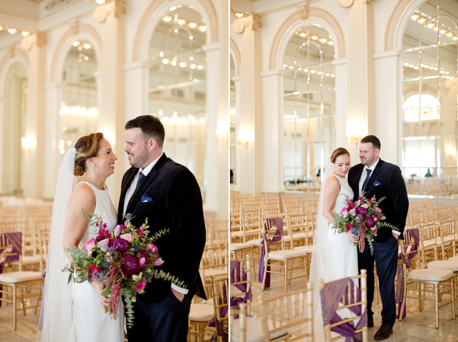 bride and groom looking at each other inside ballroom of the westin great southern