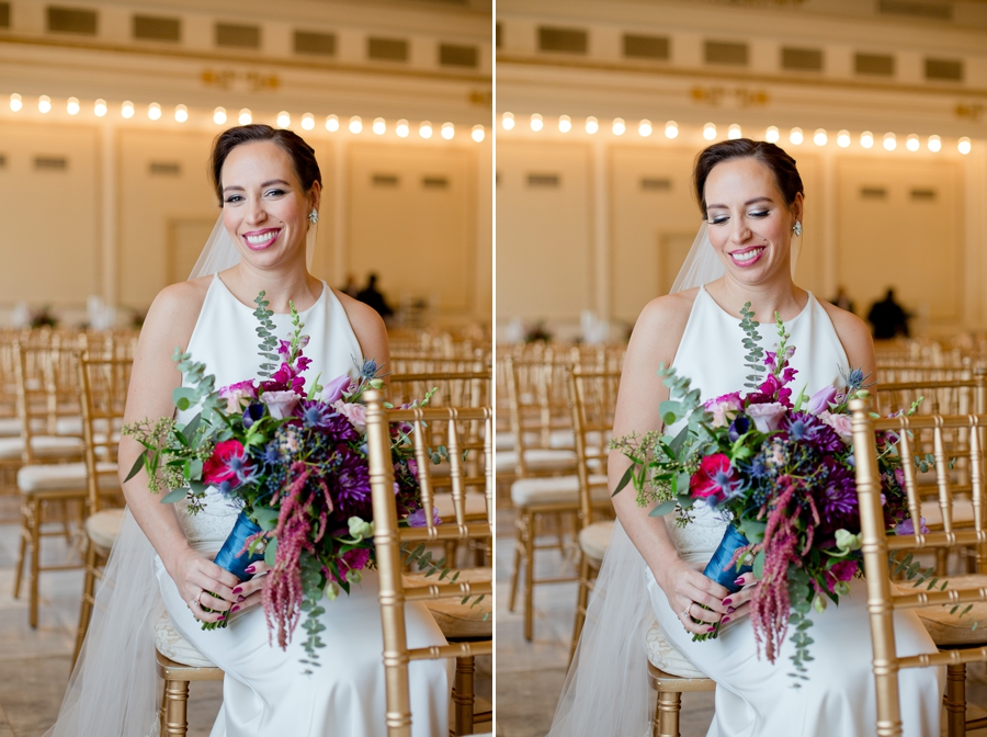 bride sitting inside the ballroom of the westin great southern