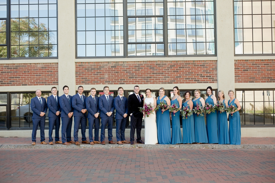 wedding party with bride and groom at the westin downtown columbus