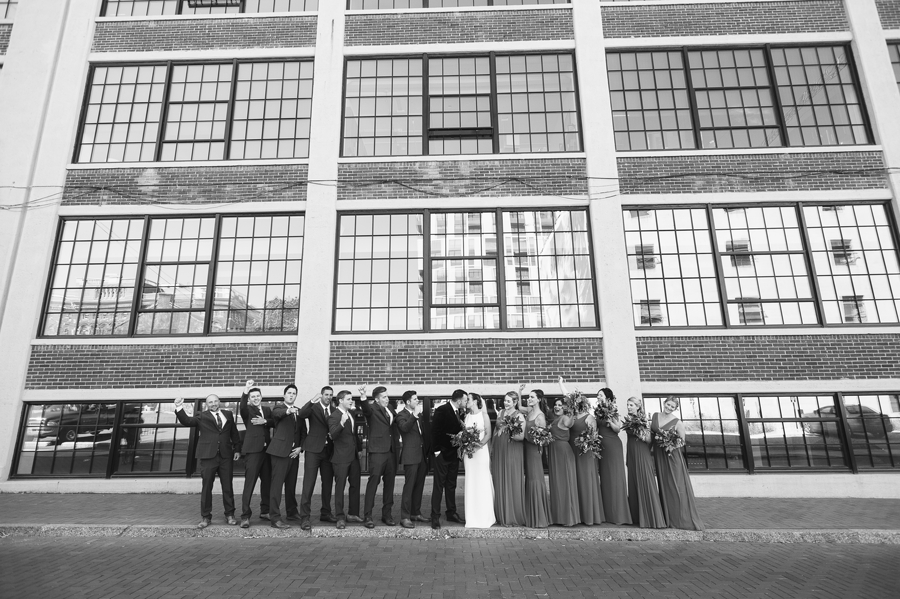 black and white photo of wedding party at the westin great southern