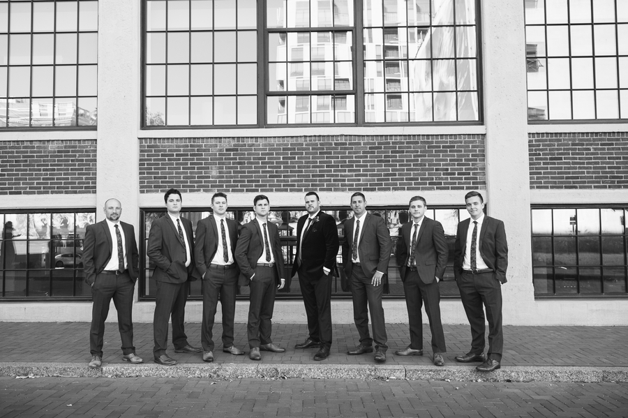 black and white photo of the groom and groomsmen