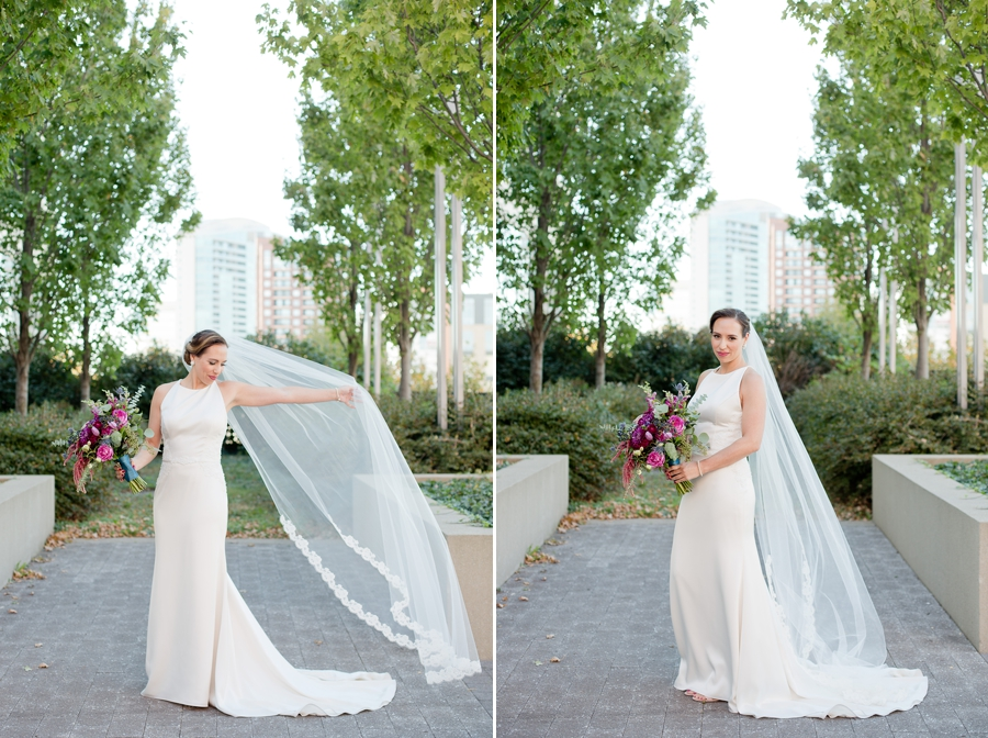 bride swaying her veil at the westin downtown columbus