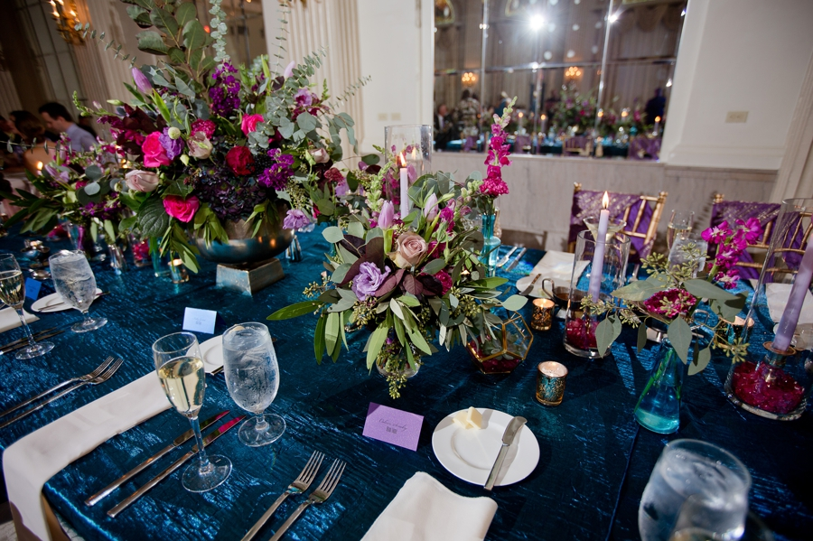 head table florals in the ballroom of the westin