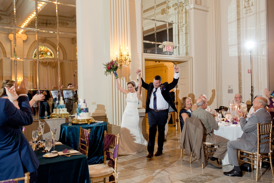 bride and groom announced into reception at the westin great southern columbus
