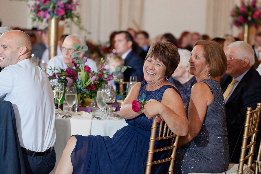 mother of groom laughing during speech