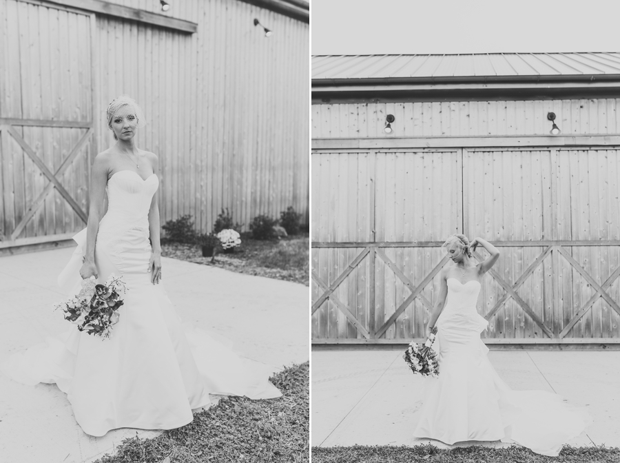 black and white photos of bride at at winery wedding in columbus ohio