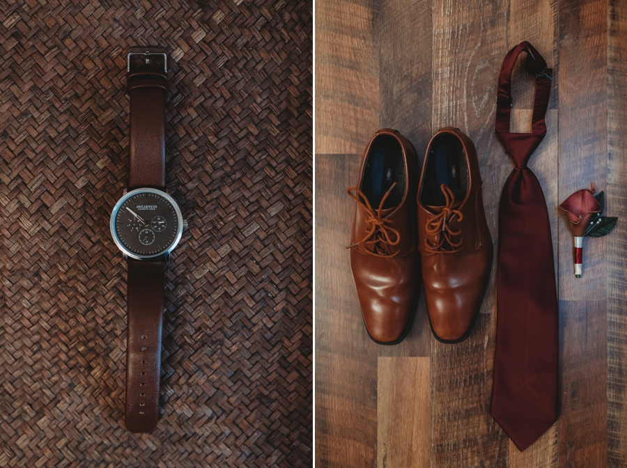 grooms shoes and tie on wood floor