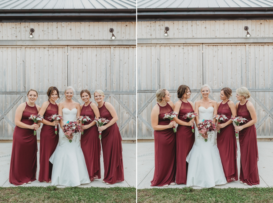 bride with bridesmaids at a vinberige vineyard winery wedding in columbus ohio