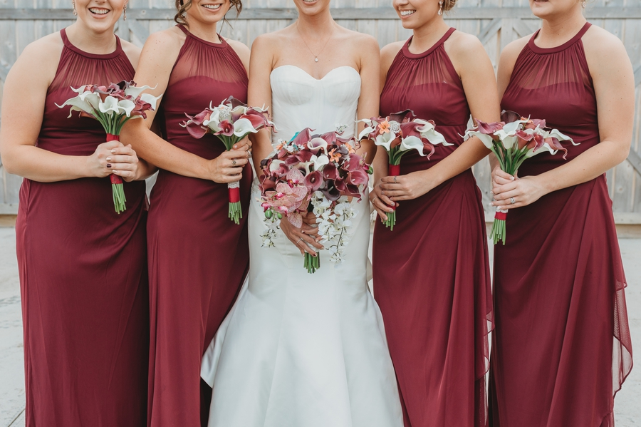 close up of bride and bridemaids bouquets