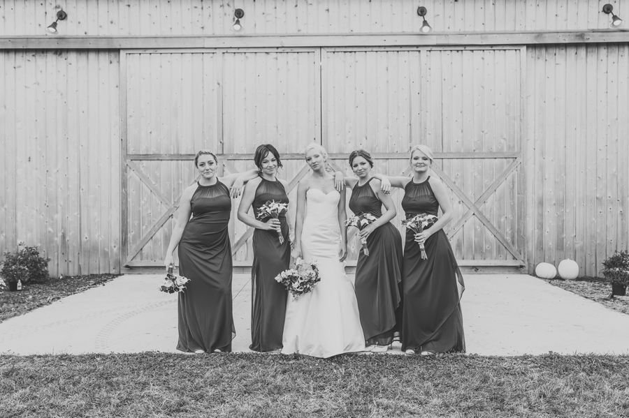 black and white bridesmaids photo