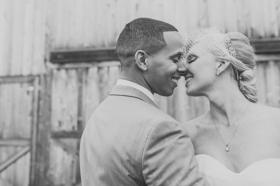 black and white close up photo of bride and groom