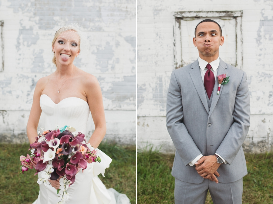 silly faces of bride and groom