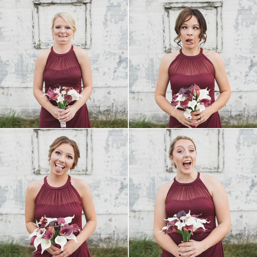 silly faces of bridesmaids