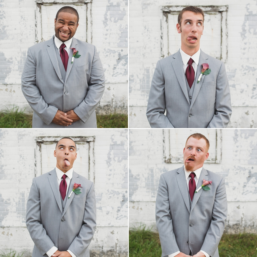silly faces of groomsmen