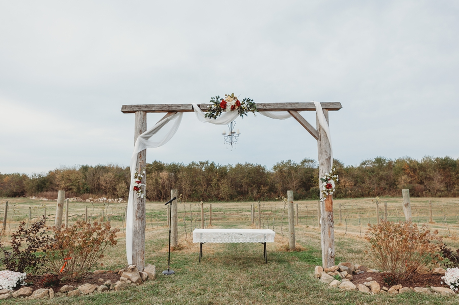 arch at outdoor winery wedding