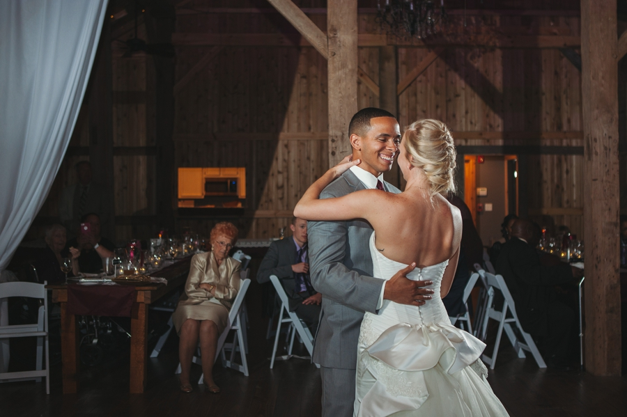 bride and groom first dance at a winery wedding