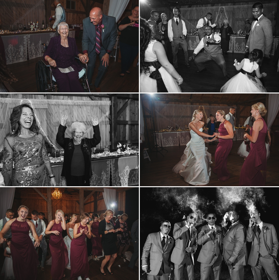 dancing and cigar photo at reception at a winery wedding