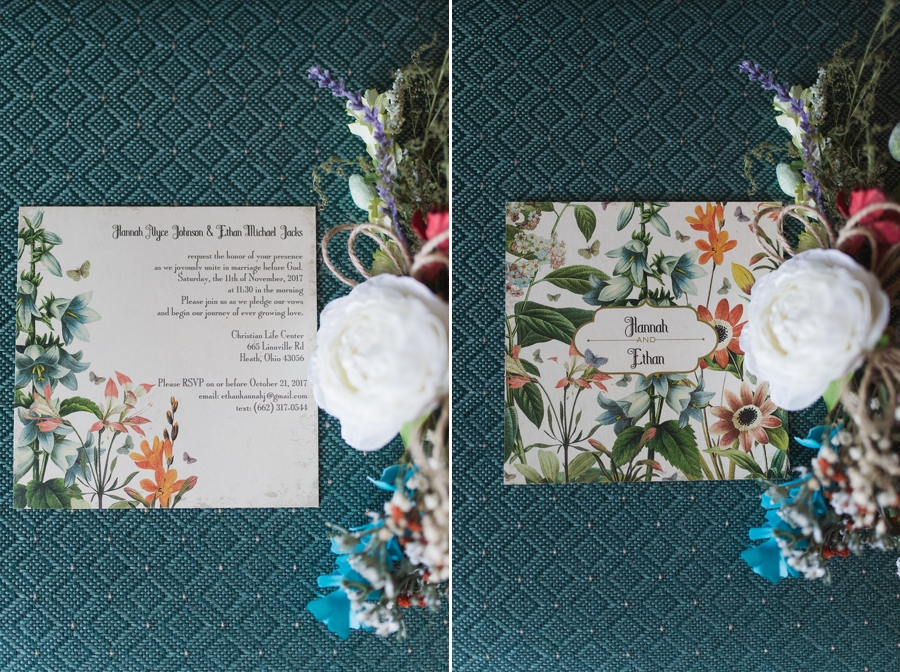 front and back of wedding invitation