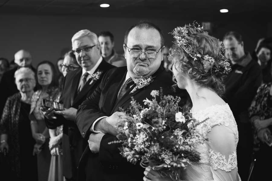 father of bride crying during ceremony