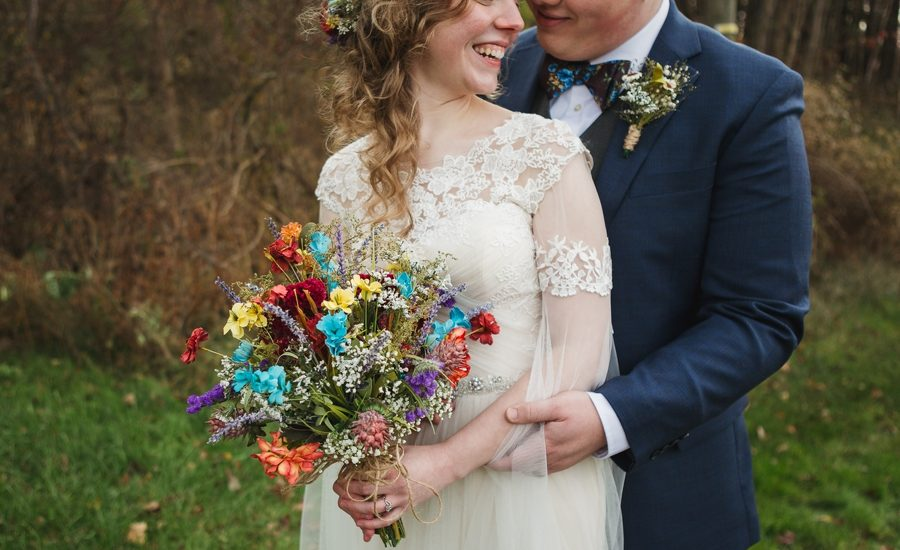 close up of bridal bouquet of dried flowers