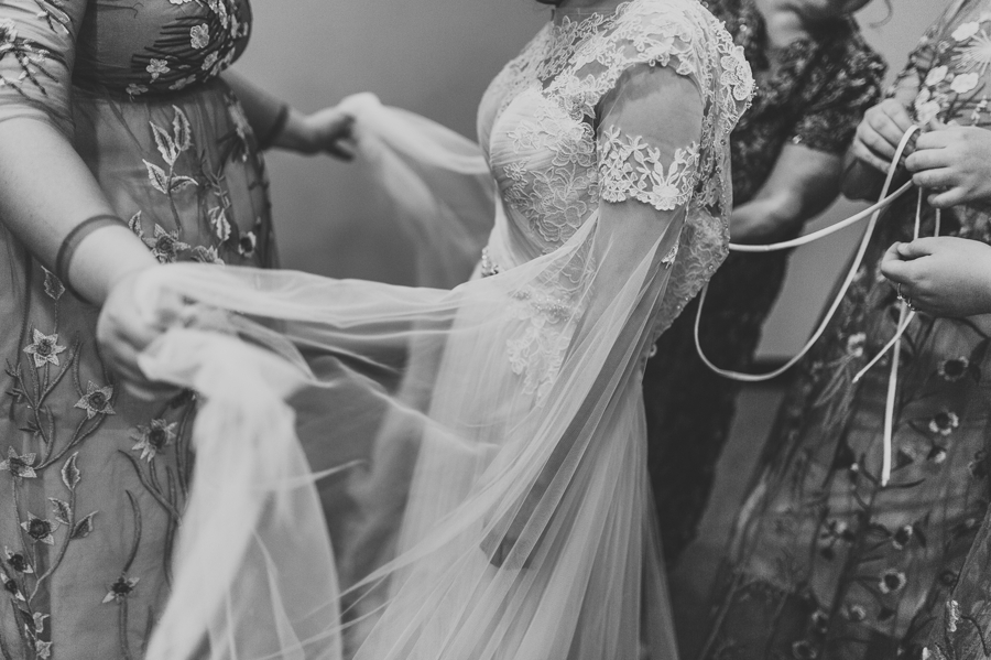 black and white details of wedding dress