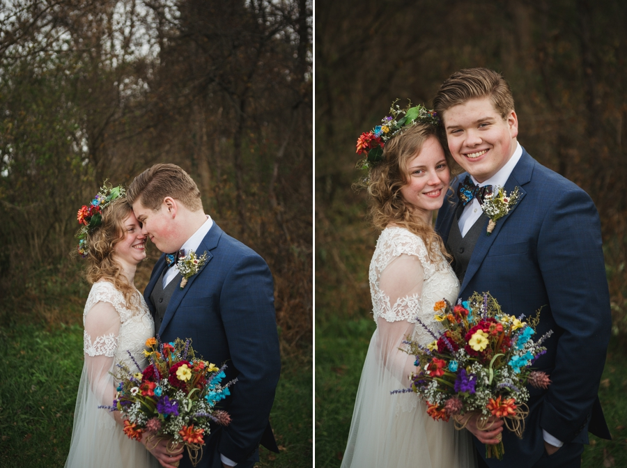 bride and groom smiling at camera at newark ohio elopement wedding