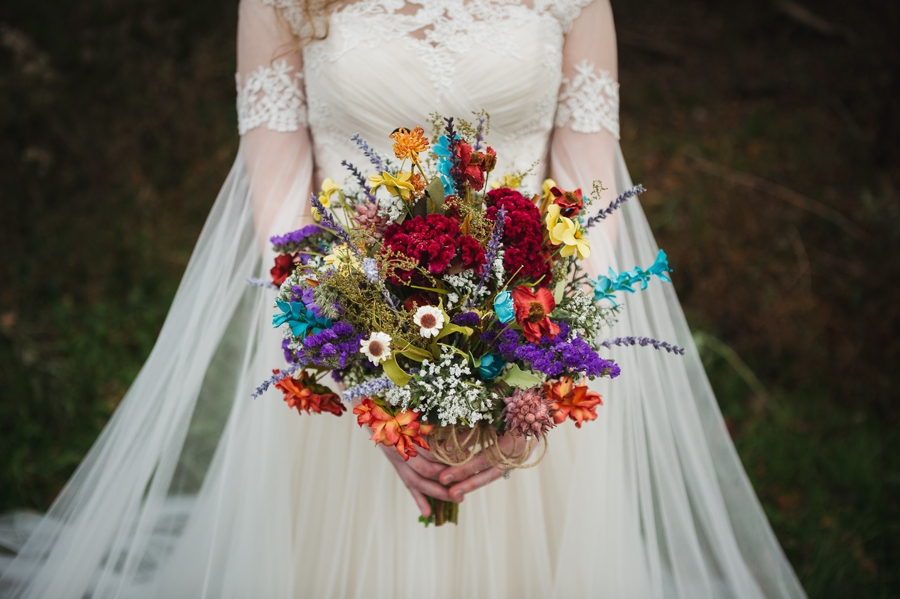 colorful dried flowers for wedding bouquet