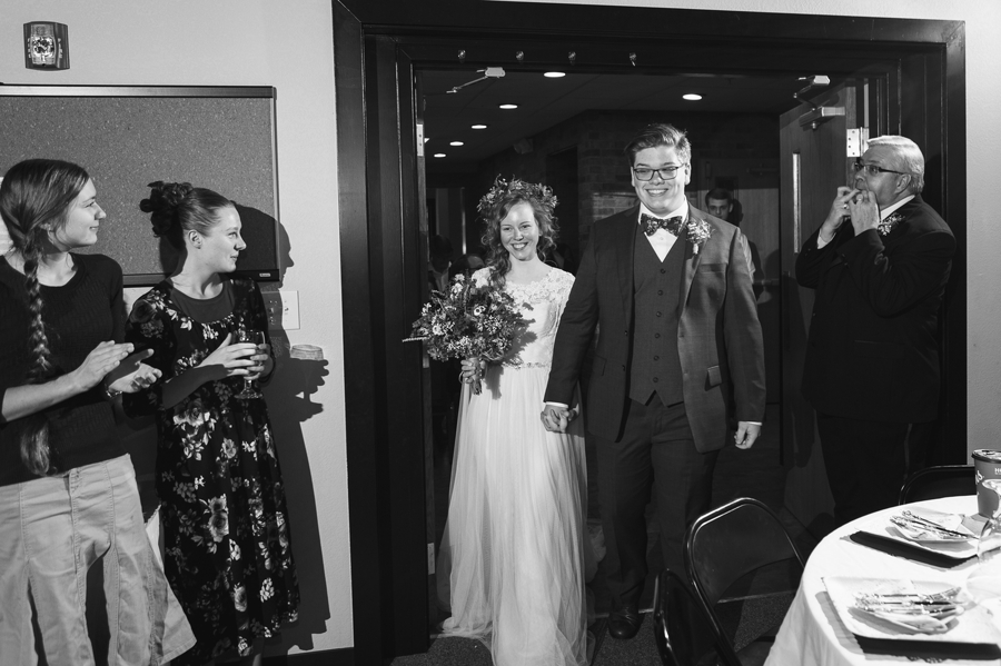 intoduction of bride and groom at newark ohio elopement wedding