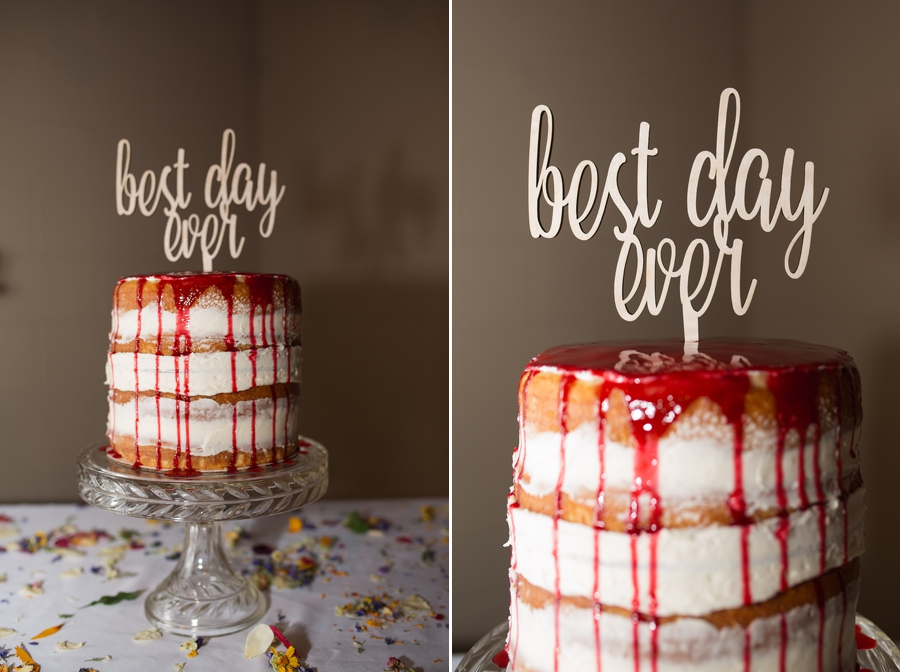 naked wedding cake with best day ever sign