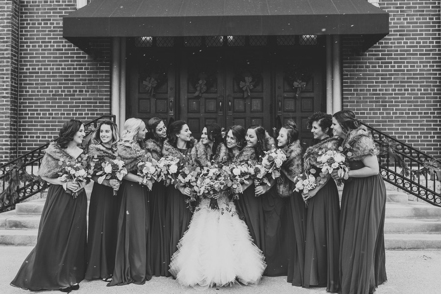 black and white photo of bridesmaids at the vault