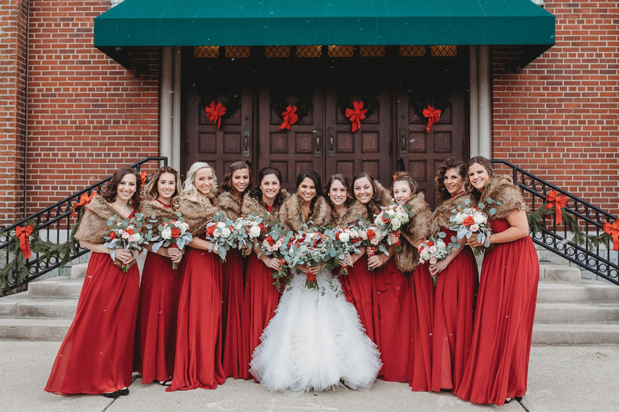 bride and bridemaids smiling at The Vault winter wedding