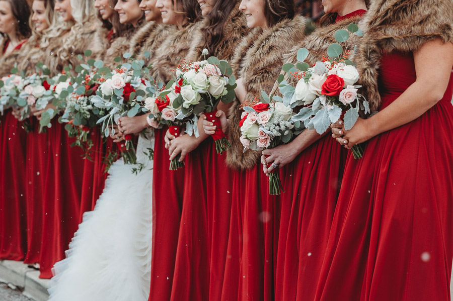 close up of bridemaids bouquets