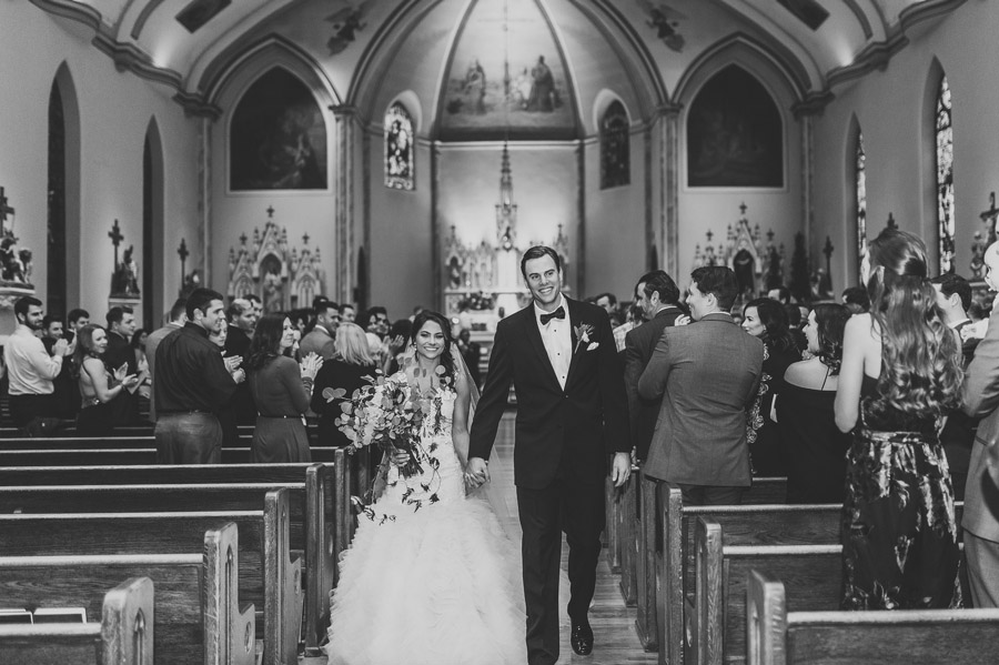 bride and groom just married at Saint Patrick church