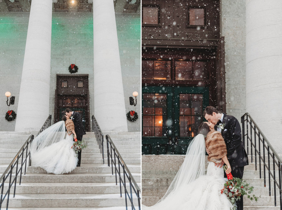 bride and groom kissing The Vault Columbus Ohio