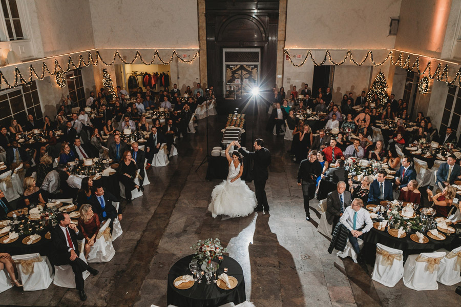 overhead photo of bride and groom first dance at The Vault