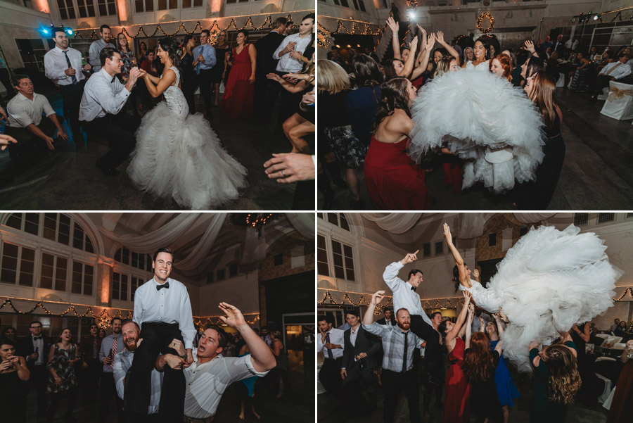 bride and groom being thrown in air at reception