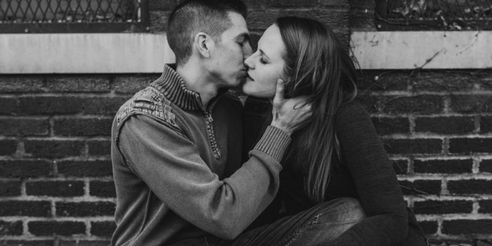 black and white photo of couple at Columbus Ohio engagement at franklin park