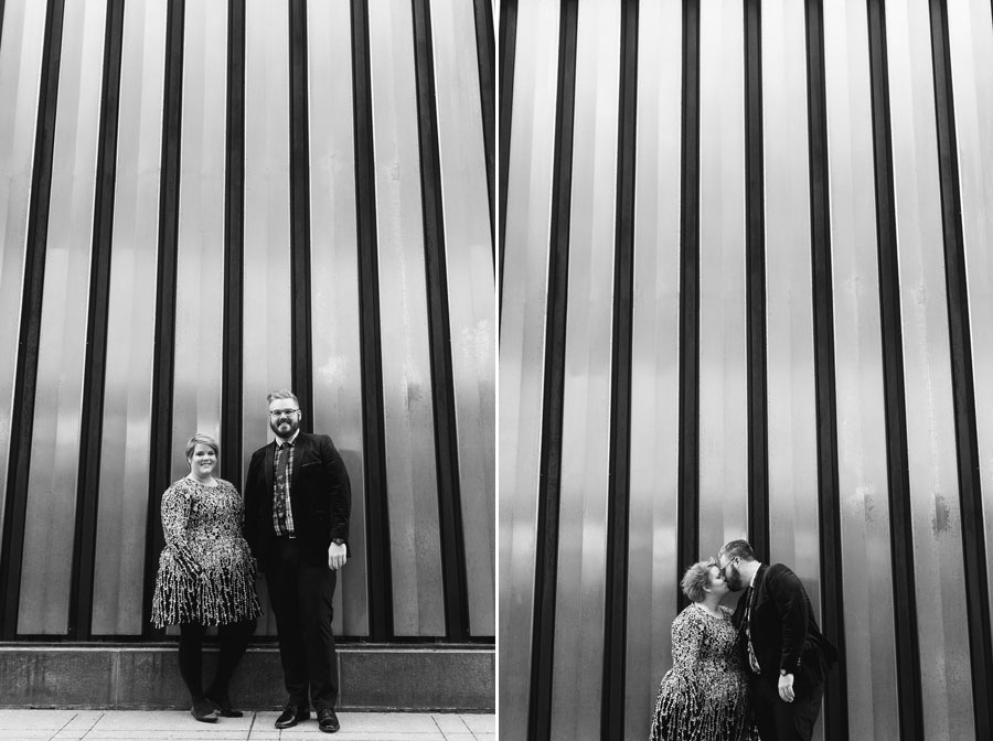 black and white photos of engaged couple at winter engagement downtown columbus